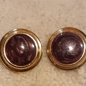 VINTAGE PARK LANE  PURPLE IRIDESCENT EARRINGS